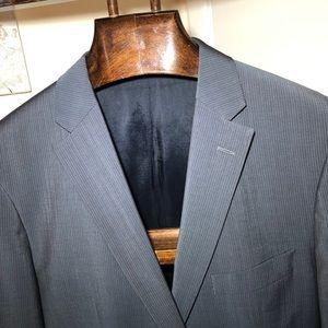 Hugo Boss Suit Gray Pinstriped Wool 40R 36x30